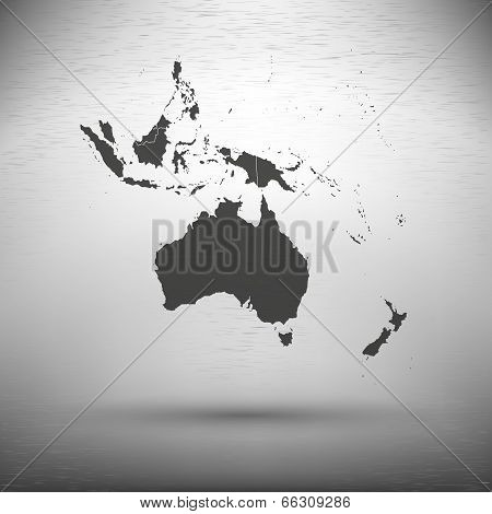Australia map with the shadow on gray background