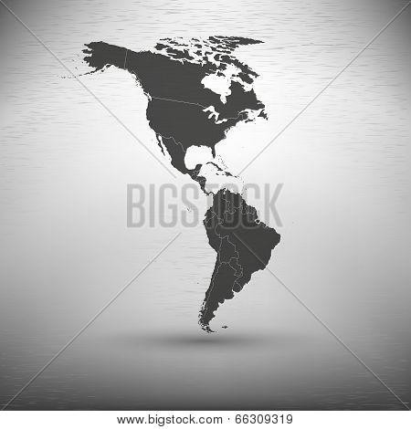 North and South America map on gray background
