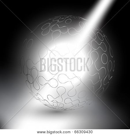 abstract sphere on gray background