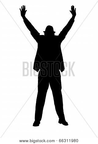 Silhouette of a Man with Arms Outstreched