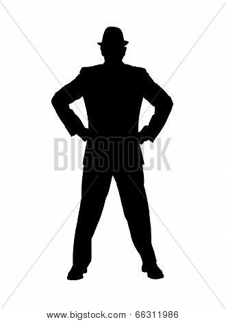 Silhouette of a Man With Hands on Hips