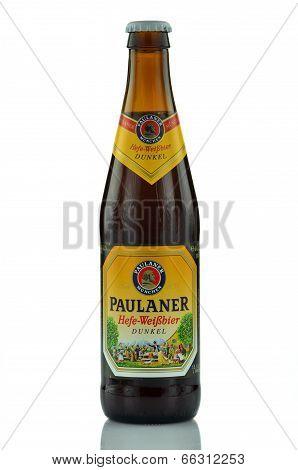 Paulaner beer isolated on white background