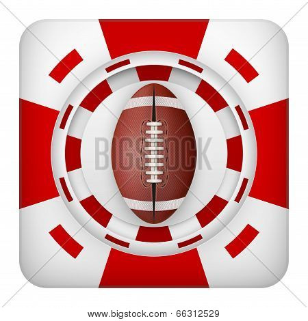 Square red casino chips of usa football sports betting