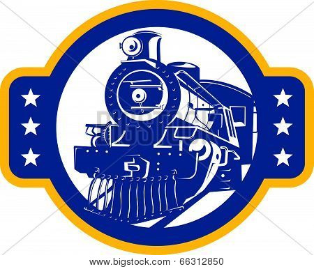 Steam Train Locomotive Front Retro