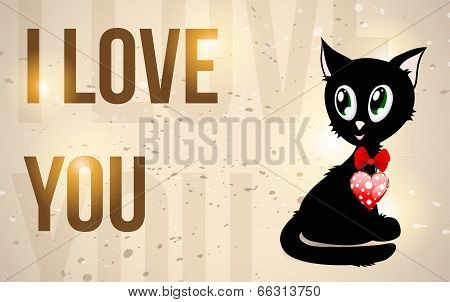 Black Kitty With Red Heart And Text