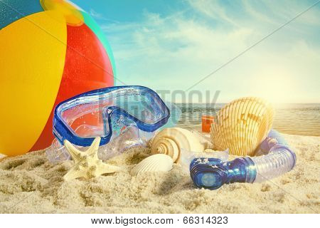 Summer toys at the beach