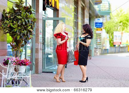 Happy Plus Size Women Shopping, Talking On The Street