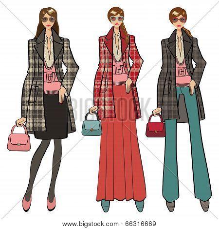 Three Lovely Trendy Girls. Fashion Illustration