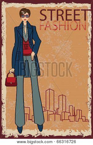 Trendy Girl.fashion Illustration.