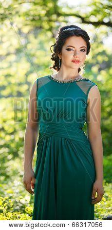 young beautiful teen girl in evening dress