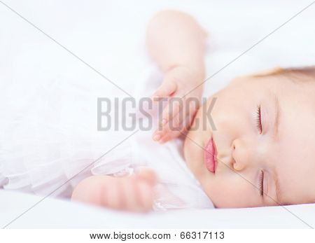 Beautiful Baby Girl Sleeping, Two Months Old