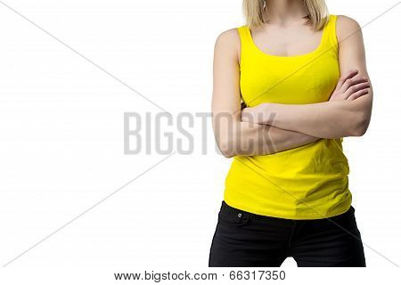 Woman In Yellow T-shirt With Arms Crossed