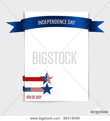 White paper with ribbon. 4th of July, Happy independence day United States of America. Vector illustration.