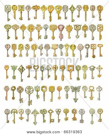 Alphabet And Symbols On Fairytale Keys. Painting, Isolated On White