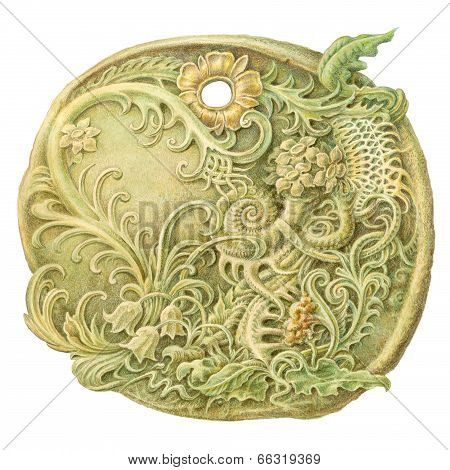 Fairy-tale Stone Coin (amulet) Painting. Isolated On White    Lotus Flower Stone Carving Clipping Pa