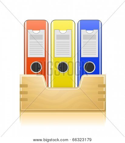Office folders in wooden box. Office documents. Vector illustration