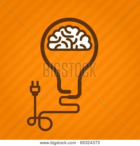Symbolic light bulb with brain inside and electric plug
