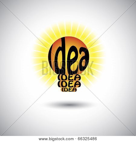 Idea Light Bulb With Hand Written Words - Concept Vector Graphic