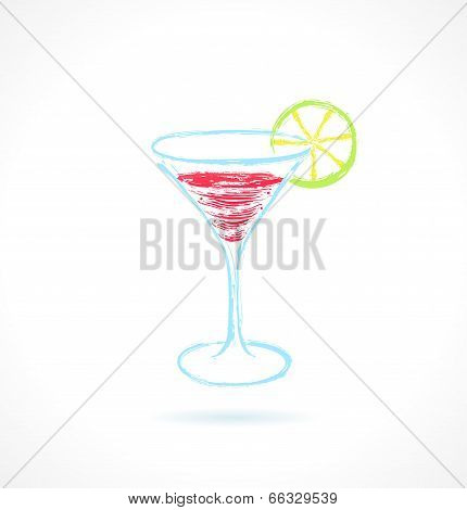 Red Cocktail With Lime. Ink Vector Illustration