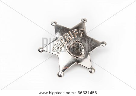 Sheriff's badge isolated on white