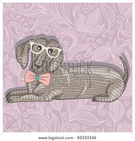 Hipster dachshund with glasses and bowtie. Cute puppy illustration for children and kids. Dog backgr
