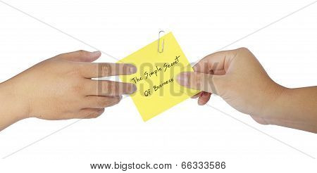 Human Hand Holding Notepaper On White