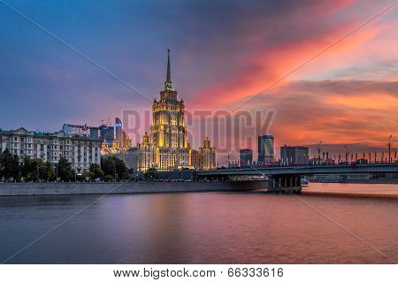 Hotel Ukraine And Novoarbatsky Bridge At Sunset, Moscow, Russia