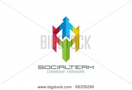 Social Team vector design logo. Internet Community group Creative concept. People Holding hands