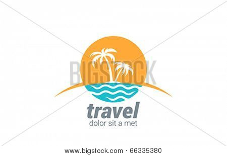 Travel agency vector logo design template. Beach, Sea, Horizon, Palms, Sun - Creative Concept icon