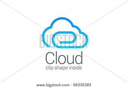 Cloud computing data save vector logo design template. Business information storage concept icon