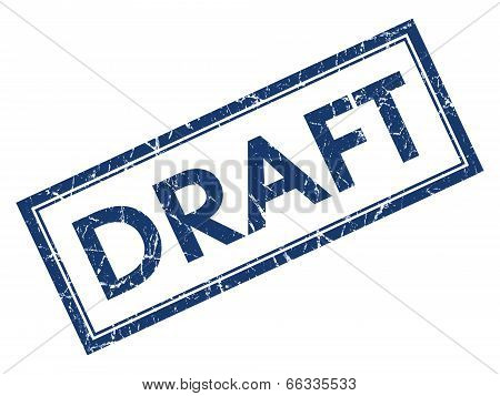 Draft Blue Square Grungy Stamp Isolated On White Background