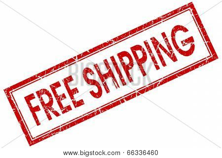 Free Shipping Red Square Grungy Stamp Isolated On White Background