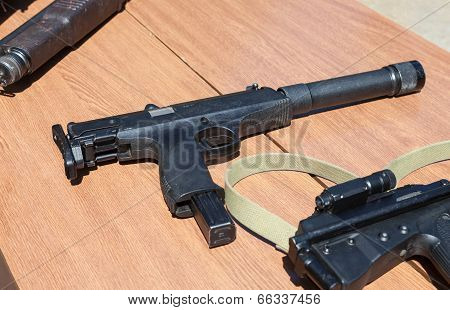 Samara, Russia - May 31, 2014: Russian Weapons. Submachine Gun Aek-919K