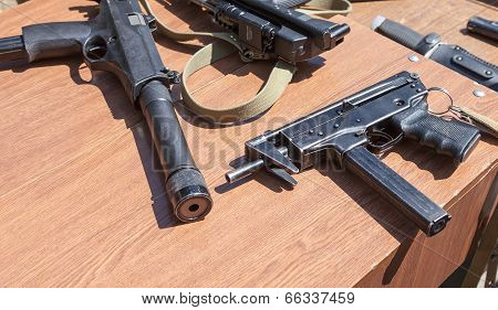 Samara, Russia - May 31, 2014: Russian Weapons. Submachine Gun