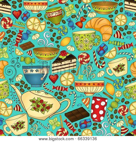 Tea and coffee doodle seamless pattern.