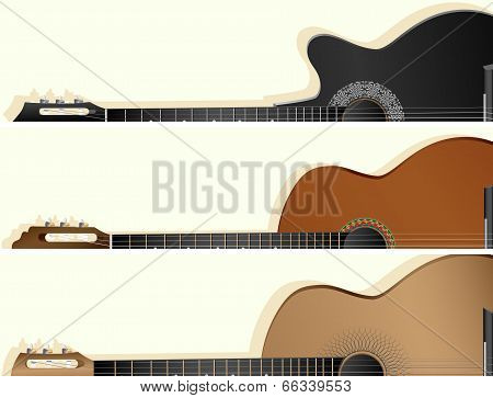 Horizontal Vector Banners Of Some Types Guitar.