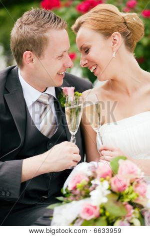 Wedding couple clinking champagne glasses
