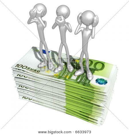 3 Sabio mono Pose en dinero