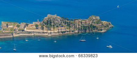Aerial view of Kerkyra, Old Fortress, Corfu, Greece