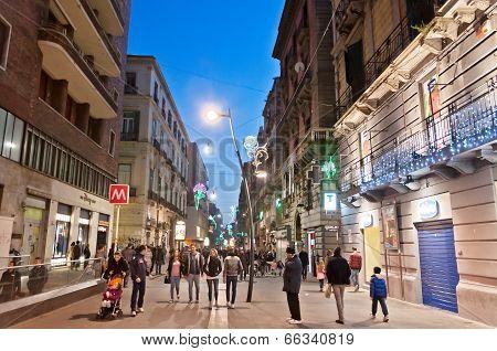 famous Via Toledo street view in Naples, Italy