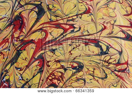 Traditional Turkish marbled paper artwork. Paper marbling is a method of water surface design, which can produce patterns similar to marble stone. Each pattern is unique due to nature of water