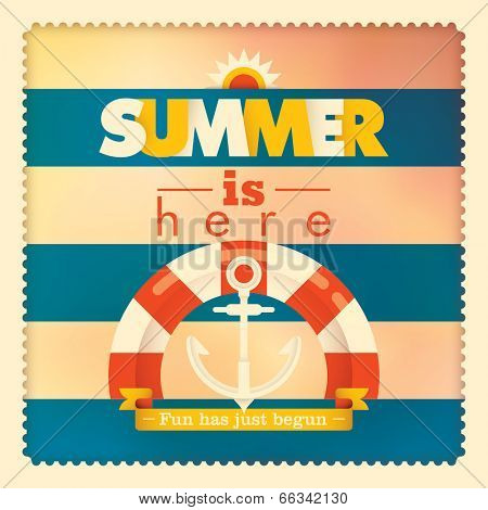 Summer illustration with lifebelt and anchor. Vector illustration.