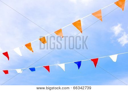 Orange flags, celebrating kingsday in the Netherlands