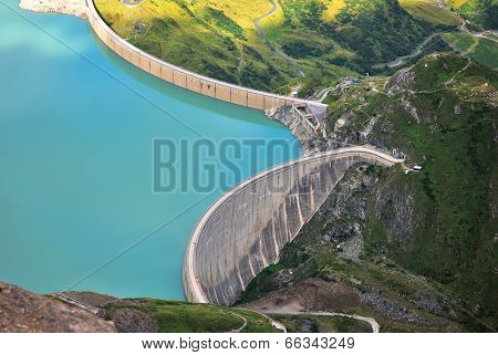Concrete Dam In Mountain