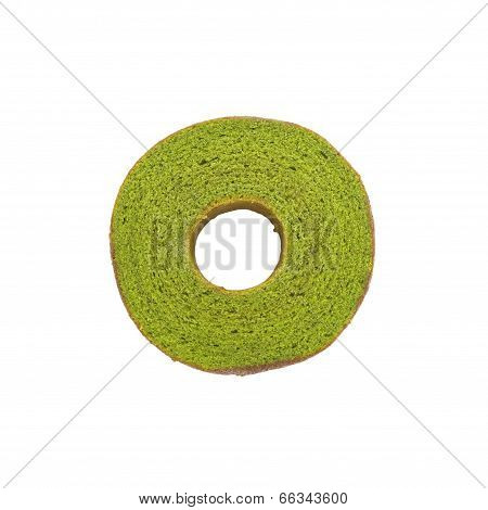 Maccha green tea baum cake on white