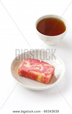 Strawberry milk pound and cup of tea