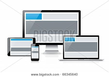 Simple and effective responsive web design idea concept vector. See how header and other web element