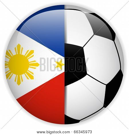 Philippines Flag With Soccer Ball Background