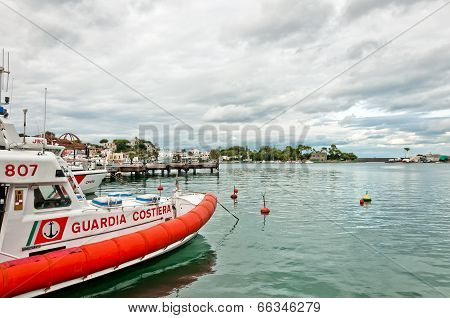 coast guard boat and harbor in Ischia island, Italy