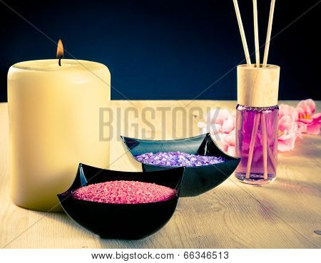 Spa Massage Border Background With Perfume Diffuser And Sea Salt